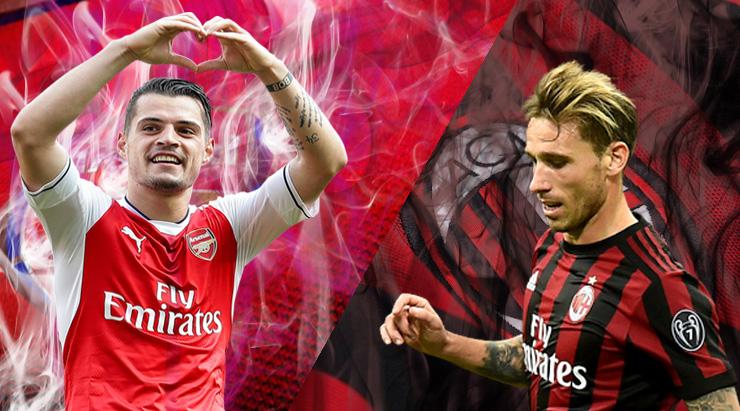 Arsenal-AC-Milan-Xhaka-vs-Baglia